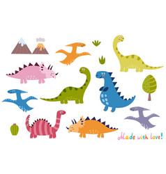cute dinosaurs collection isolated elements set vector image