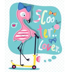 cute flamingo girl cartoon on scooter vector image