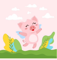 cute pink flying pig vector image