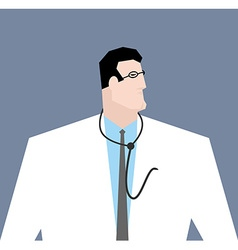 Doctor in white coat Medical worker with vector