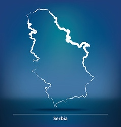 Doodle Map of Serbia vector image