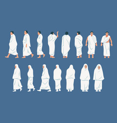 Figurative character of hajj pilgrimage vector