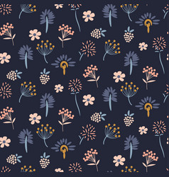 floral meadow blue seamless pattern vector image