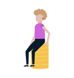 girl sitting on coins icon vector image
