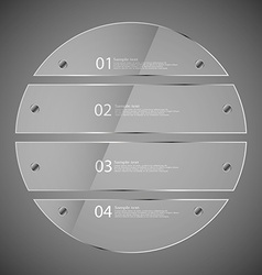 Glass circle divided to four separate parts on vector