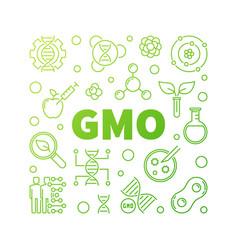 gmo square concept green outline vector image