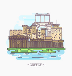 Greek monuments and landmarks acropolisparthenon vector