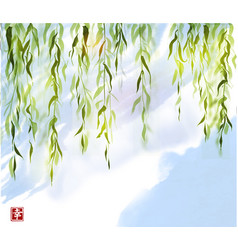 Green willow tree on blue sky background vector