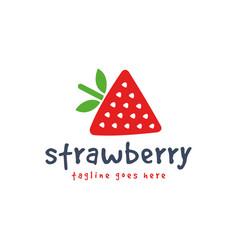 hand drawn strawberry logo template icon cute vector image