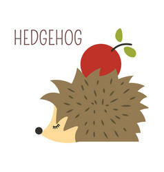 Hedgehog with apple on back childish character vector