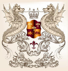 Heraldic design with dragons fleur de lis shield vector