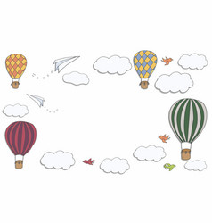 hot air baloons banner vector image