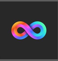 infinity logo 3d geometric shape bright gradient vector image