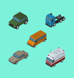 isometric car set of armored truck first-aid and vector image