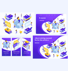 isometric concept for e-learning education vector image