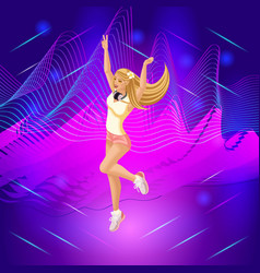 Isometric girl on the background of musical waves vector