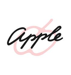 label print lettering apple vector image
