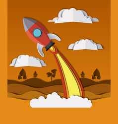 Landscape with rocket launcher craft vector