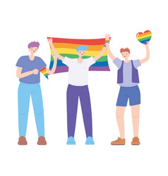 Lgbtq community young men character with rainbow vector