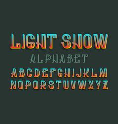 Light show alphabet iridescent festive font vector