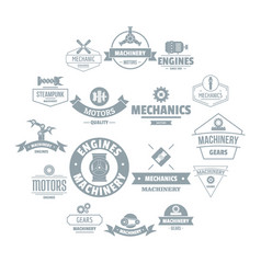 Mechanics logo icons set simple style vector