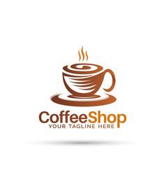 Modern coffee shop logo design vector