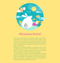 moon rabbit symbol for mid autumn festival card vector image
