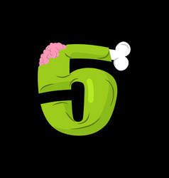 number 5 zombie monster font five bones and vector image