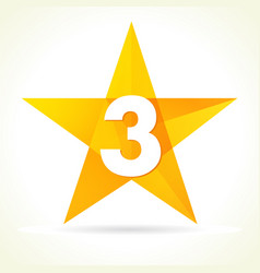 number three star logo concept vector image