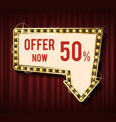 Offer now 50 percent off lowering price banner vector