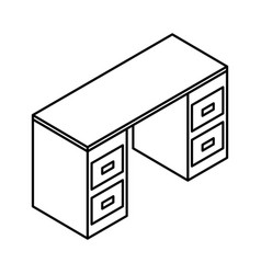 office desk isometric icon vector image