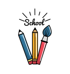 Pencil case school tools icon vector