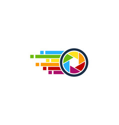 Pixel art camera logo icon design vector