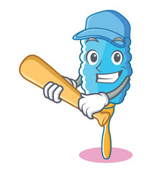 playing baseball feather duster character cartoon vector image