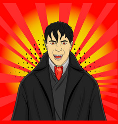 pop art man vampire in a suit on a red background vector image