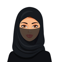 Portrait of muslim woman using a white veil vector
