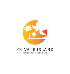private island travel logo template vector image