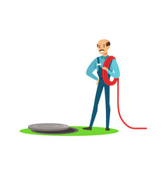 proffesional plumber man character stnding next to vector image