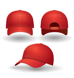 Realistic red baseball cap set vector