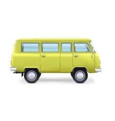 Retro travel van on white background vector image