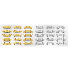 ribbon banners gold silver ribbons set vector image