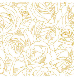 Roses bud outlines seamless pattern with flowers vector