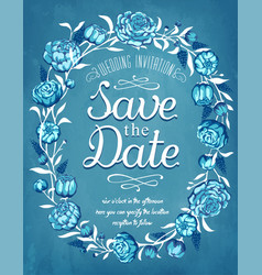 Save date wedding invitation vintage card vector