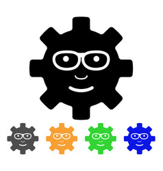 Service gear glad smile icon vector