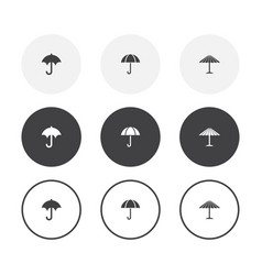 set 3 simple design umbrella icons rounded vector image
