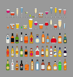 set alcohol drinks in glasses isolated on grey vector image
