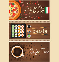 set banners pizza sushi and coffee vector image