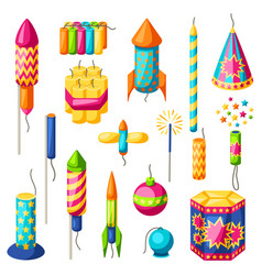 set colorful fireworks different types of vector image