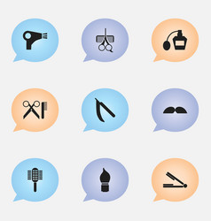 set of 9 editable hairstylist icons includes vector image