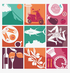 set of icons on a theme of sicily vector image